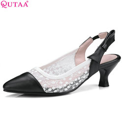 55e750e6a QUTAA 2018 Mulheres Bombas Finos sapatos de Salto Alto Mulheres Sapatos Da  Moda Deslizar sobre As