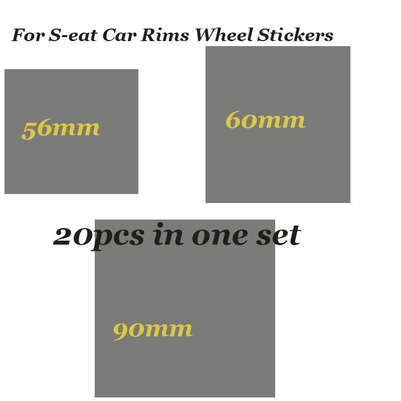 20PCS/SET 56mm 60mm 90mm Car Emblem Badge Rims Wheel Stickers Label For Seat Cordoba Ibiza Cupra Leon Lbiza Toledo Altea Decals