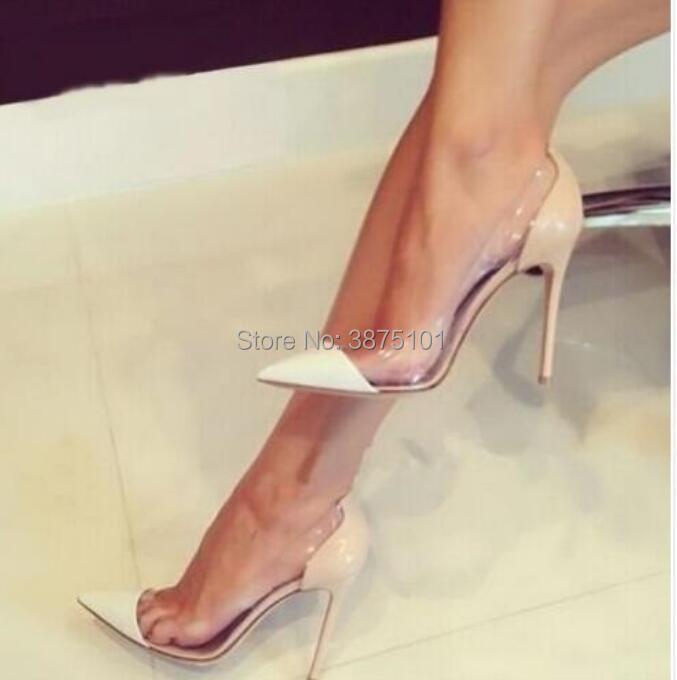 Pointed Toe PVC Pumps 10cm High Heel Women Casual HeelsPointed Toe PVC Pumps 10cm High Heel Women Casual Heels