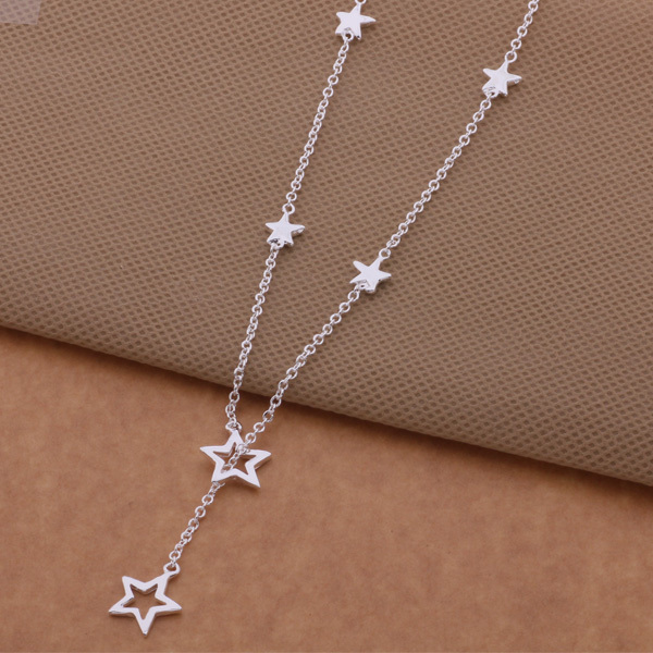 2015 Fashion Silver Star Pendant & Thin Necklace Pretty Sexy Jewelry For Women High Quality Wholesale Price