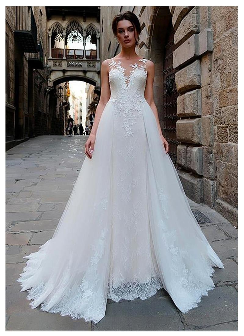 LORIE Wedding Dress 2019 Sexy Sleeveless Lace Vestidos De Novia Vintage Lace Appliques Bridal Gown Backless Wedding Gowns