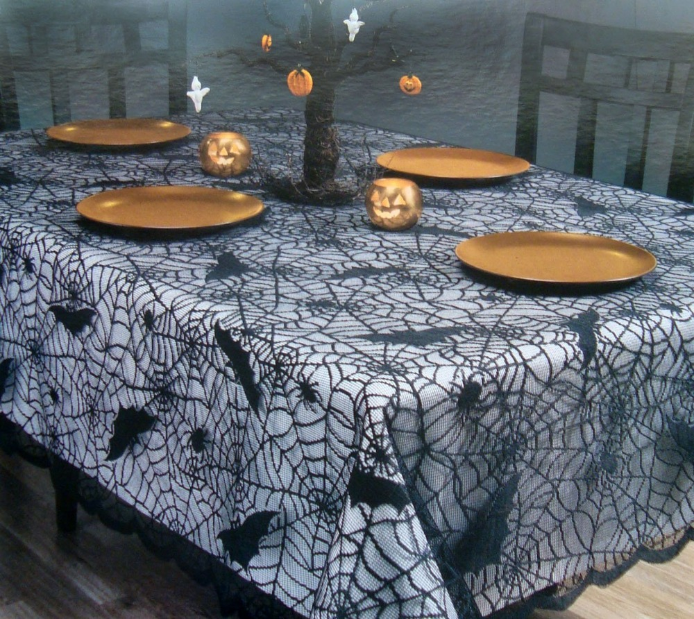 Halloween Table Cloth spider web tablecloth decoration 20 interesting halloween decorations to buy for your home Free Shipping Halloween Black Lace Table Cloths With Bat And Spider Web Tablecloths Halloween Holiday Festival Dia 70 Inch Round