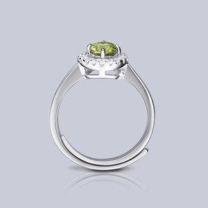Image 5 - Женское регулируемое кольцо из серебра 925 пробы с натуральным хризолитом