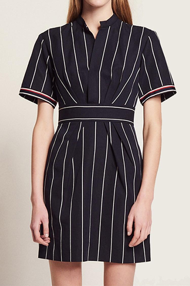Women Dress 2019 Spring and Summer Stitching Striped Slim Short sleeved Dress