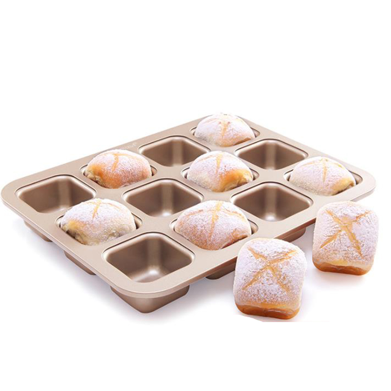 MYLIFEUNIT Brownie Cake Mould 12 Cavity Squares Carbon Steel Non-Stick Bread Cake Baking Mould For All Cake Recipe image