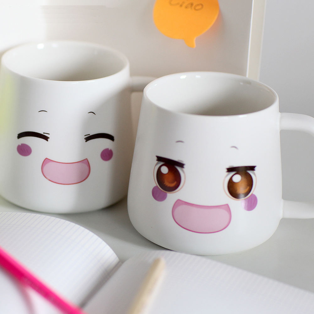 Cute Cartoon Smiley face expression ceramic mug Cartoon ceramic milk cup