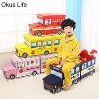 Fun Foldable Train Bus Toys Storage Basket Organizer for Kids Clothes Sundries Storage Box Cartoon Car Toy Children Storage Bin