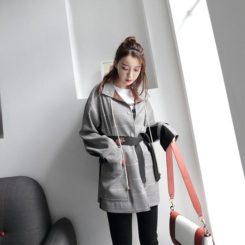 Manches Revers Tranchée vent Noir Longues Manteau Ass8038 Printemps Black Couture Plaid Coupe Casaco Blanc Automne White Mince Feminino Femmes FYwWqRp8