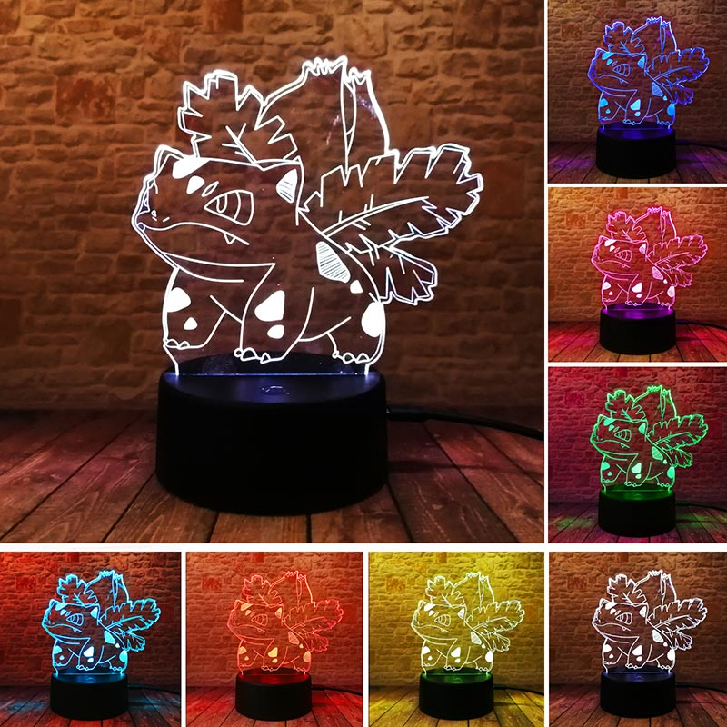 Bulbasaur Anime Figure 3D Lamp Visual Illusion LED Colourful Change Touch Light Flashing Nightlight Kids Toys for Children