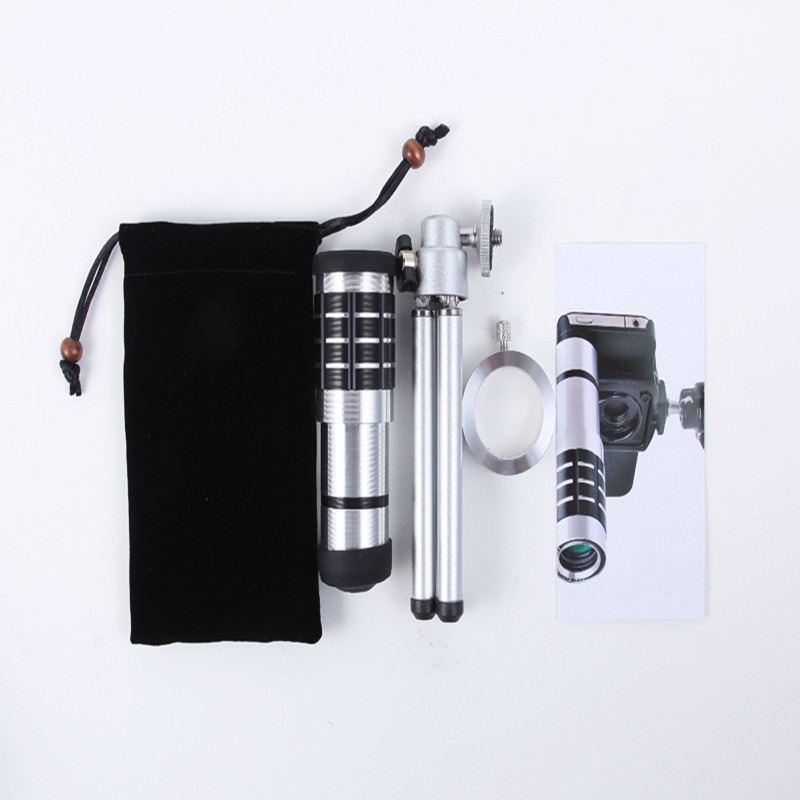 Universal 12X Zoom Phone Camera Lens Telephoto Telescope With Mount Clip Holder Mini Tripod Stand Lens For iPhone Smartphone 1