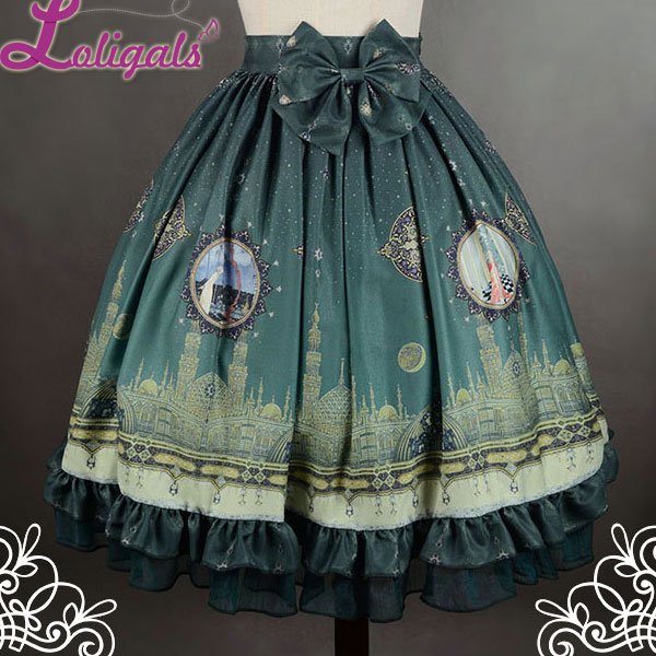 Soufflesong Mystery Arabian Night Printed Lolita Skirt with Detachable Bow Free Shipping