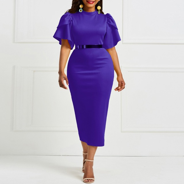 Evening Party Date Women Vintage Ruffle Yellow Blue Purple Bodycon Dress Office Lady Work Day Plus Size Midi Long Skinny Dresses 5