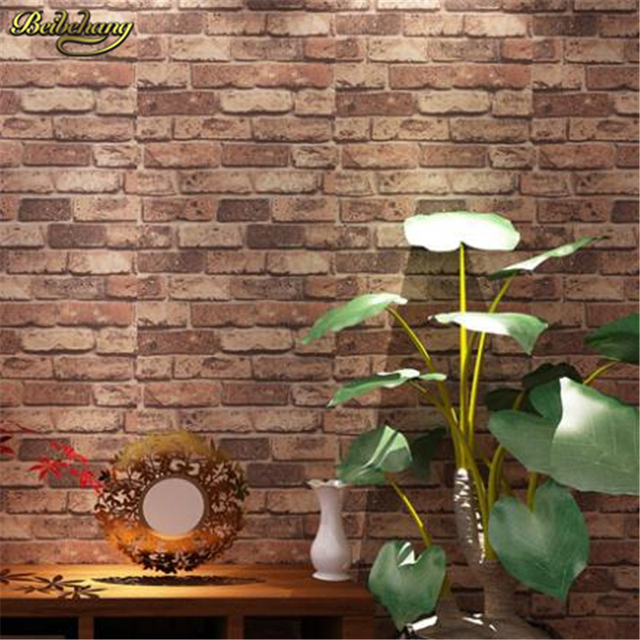 Beibehang Papel De Parede 3d Wallpaper Roll Natural Rustic Brick Stone Wall Paper Vintag Pvc For