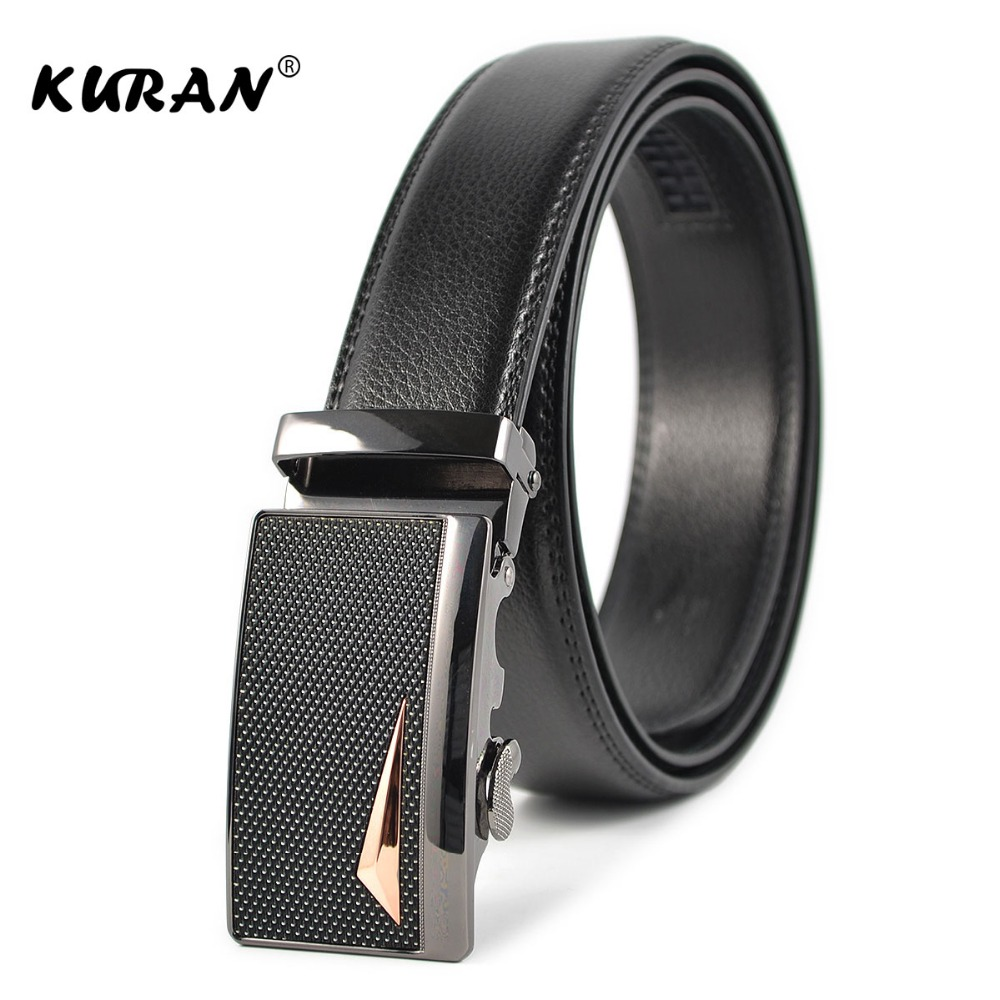 [KURAN] Automatic Buckle Leather   Belts   Fashion Designers   belts   Business Male Alloy buckle   Belts   for Men Ceinture Homme