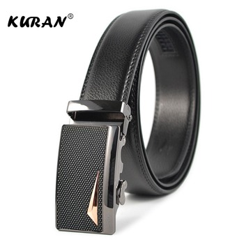 [KURAN] Automatic Buckle Leather Belts Fashion Designers belts Business Male Alloy buckle Belts for Men Ceinture Homme