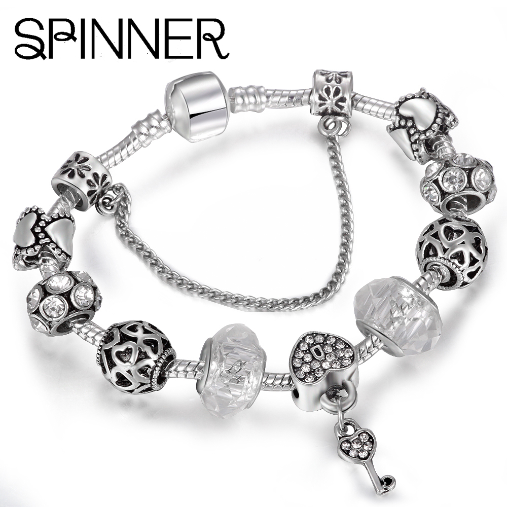 Helpful Spinner Flower Clear Cz With Silver Plated Charms Beads Fit Pandora 3.00mm Snake Chain Bracelet Jewelry Diy Making Accessories Beads