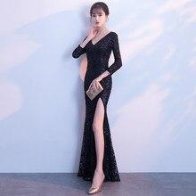 5ec2a22adbb8 2018 Nero vestito da sera delle donne della signora halter sexy scollo a V  tulle fishtail Pavimento-lunghezza del Vestito di alt.
