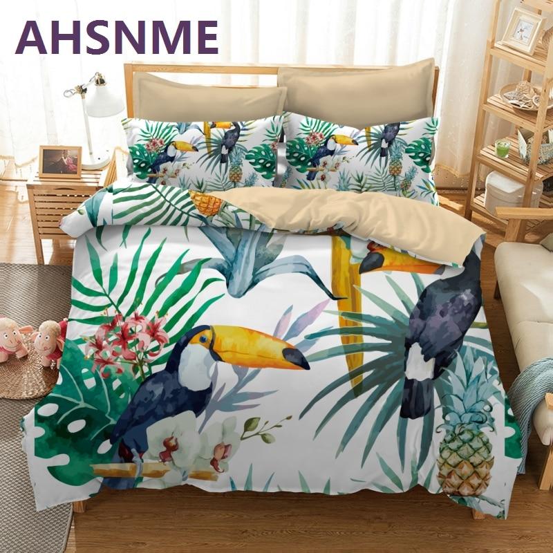 AHSNME duże usta ptak owoce ananas wzór pościel zestaw wielu kraju wymiary dla nas AU ue RU kapa na kołdrę domu tekstylia w Zestawy pościeli od Dom i ogród na  Grupa 1