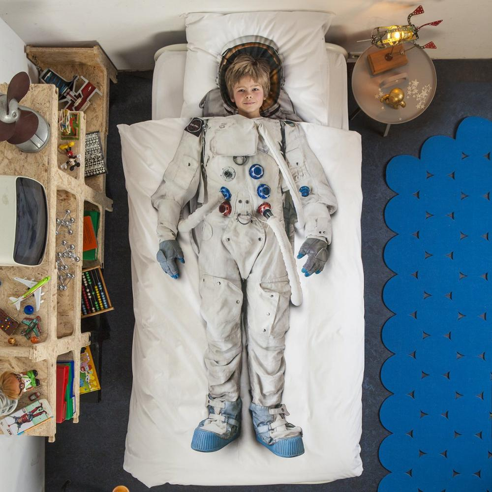 Turetrip Cosmonaut Duvet Cover Set With Pillowcase Children Bedding Set Quilt Protector Cover Bedding Set For Boys and Girls