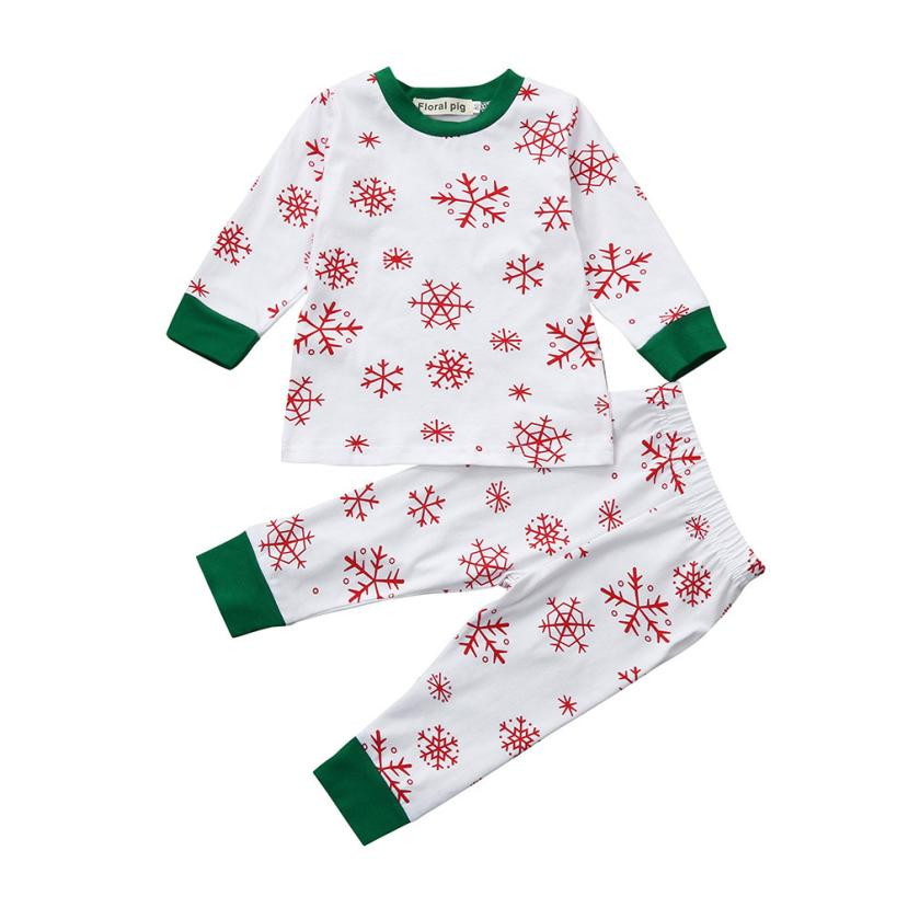Kids Christmas Clothes Sets Baby Girls Boys Snow Printong Long Sleeve Tops+Pants 2Pcs Qualited Outfits Set Baby Kleding @6114