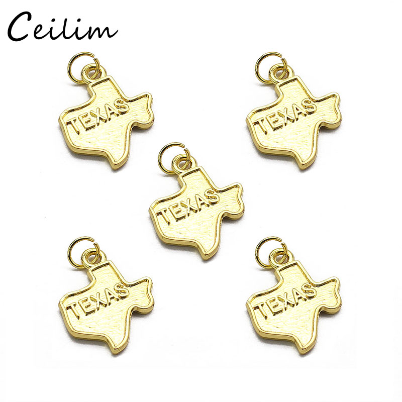 20pcs/lot Gold Color 3D Texas America US State Map Charms Handmade Alloy DIY Jewelry Pendant Charms Wholesale Size 19mm*19mm