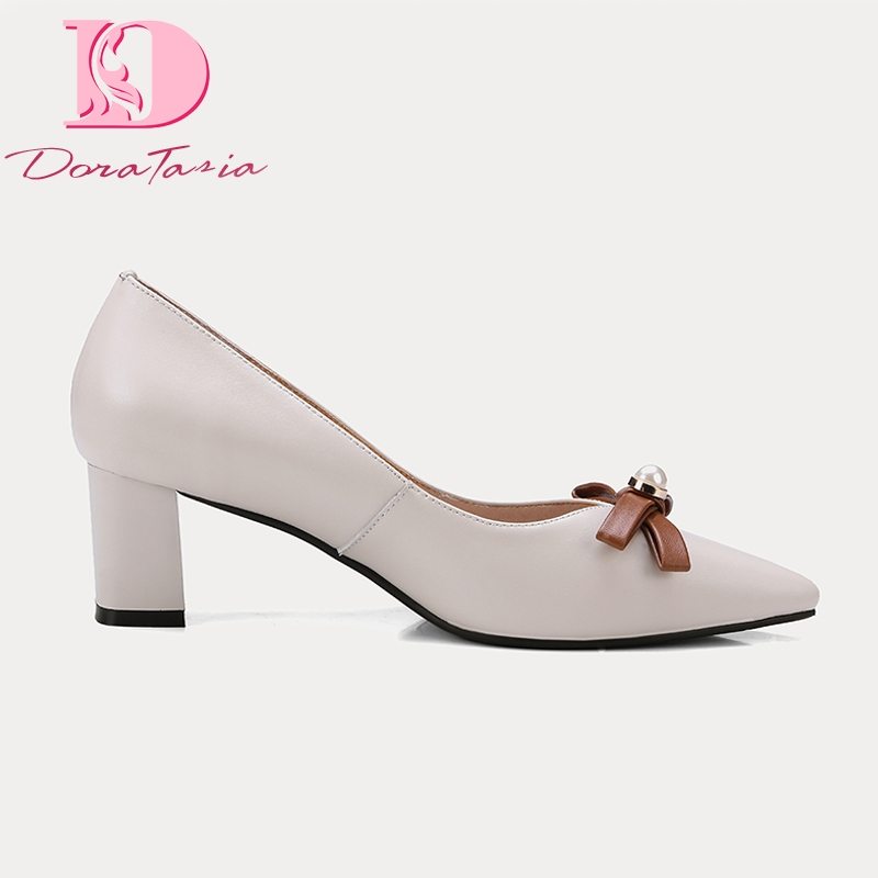 Doratasia 2019 Brand Ins style genuine leather pointed toe chunky heeled sandals elegant women s Shoes