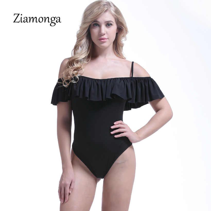 Ziamonga с плеча оборками Фитнес боди Женская одежда 2018 модные, пикантные Тонкий Bodycon Комбинезоны для женщин дамы Корректирующие боди для женщин Комбинезоны для малышек
