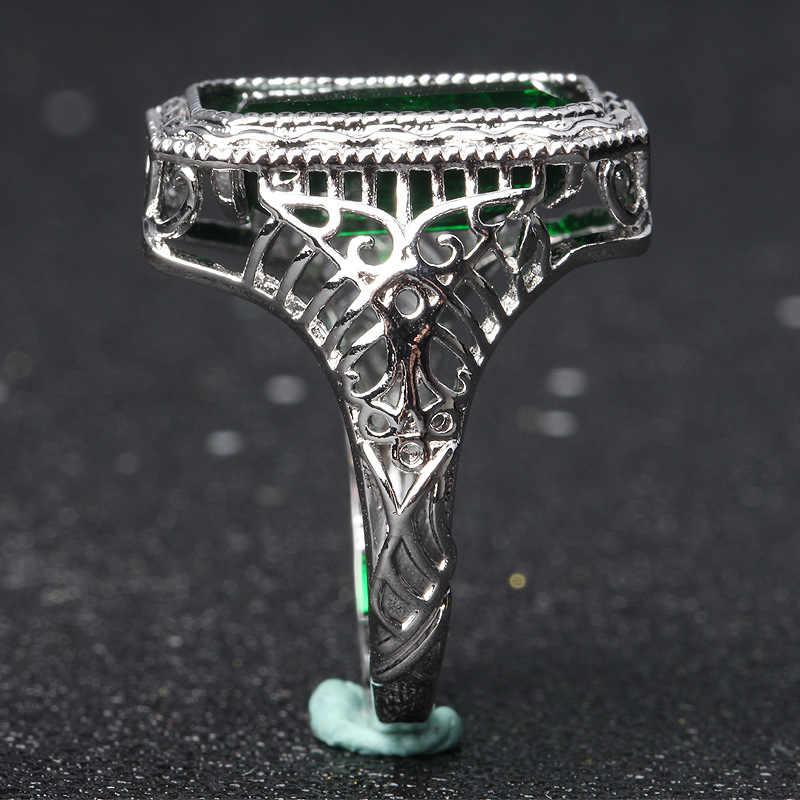 Кольцо из серебра 925 пробы, изумруд, женские вечерние кольца, обручальное большое кольцо anillos matrimonio de oro, кольца с зеленым топазом, Изумрудом и драгоценным камнем