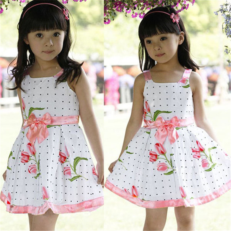 Infant Baby Dress Girls floral dress with Flower Sleeveless Print Bow Dress Summer Girls Clothing Cotton Party Princess Dresses цены онлайн