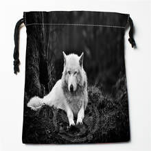 W-97 New wolf full moon Custom Logo Printed receive bag Bag Compression Type drawstring bags size 18X22cm E801wo97(China)