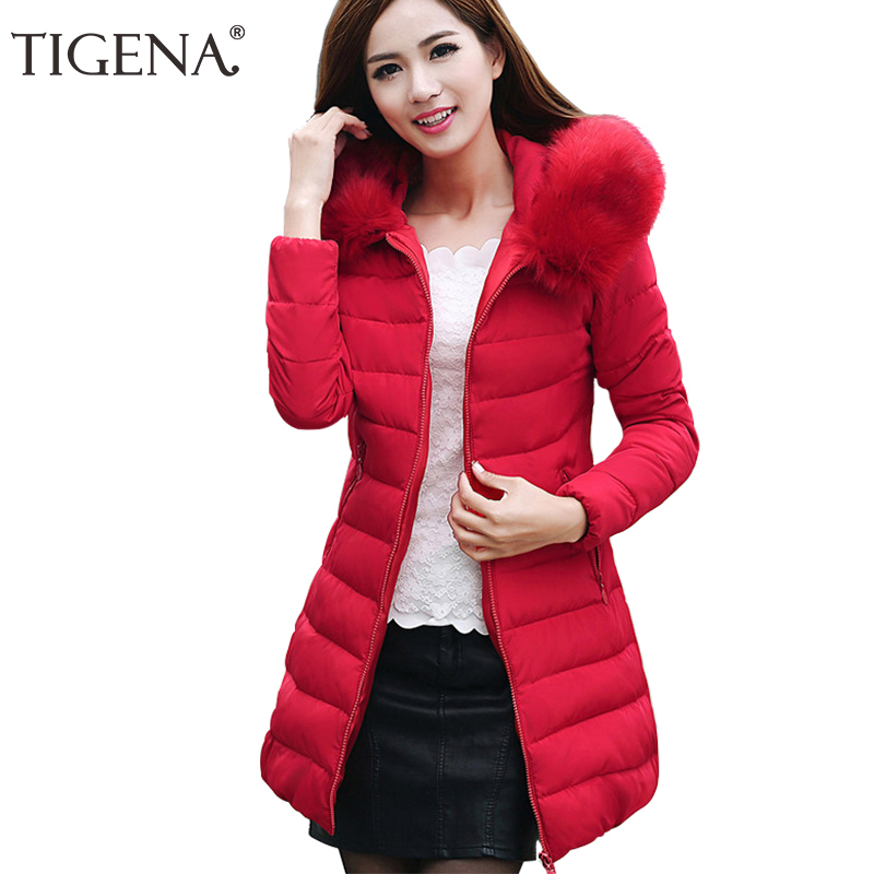 TIGENA Plus Size 4XL Long Winter Jacket Coat Women   Parka   2018 Fur Collar Hooded Thick Warm Winter Jacket Coat Female   Parka   Femme