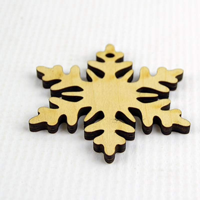 50x laser cut hollow carving wood snowflake ornament