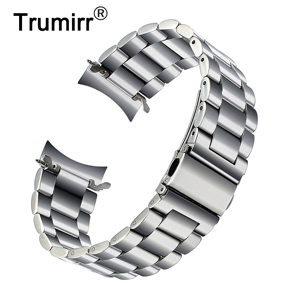 De acero inoxidable para Samsung Galaxy reloj 46mm SM-R800 deportes banda Curved End Correa pulsera Negro Plata