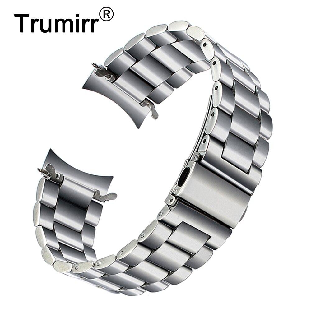 Premium Edelstahl Armband für Samsung Galaxy Uhr 46mm SM-R800 Sport Band Curved End Strap Handgelenk Armband Silber Schwarz