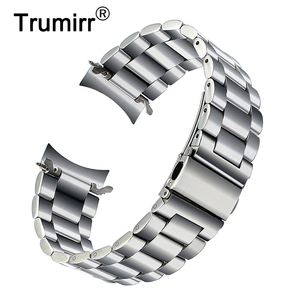 Image 1 - Premium Stainless Steel Watchband for Samsung Galaxy Watch 46mm SM R800 Sports Band Curved End Strap Wrist Bracelet Silver Black