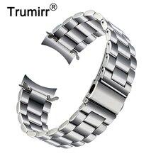 Premium pulseira de aço inoxidável para samsung galaxy assista 46mm SM R800 esportes banda curvada fim pulseira de pulso prata preto