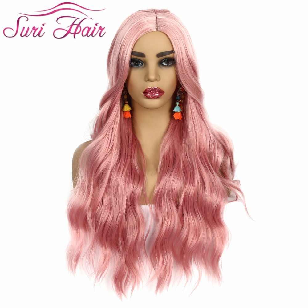 Сури волосы длинные из синтетических волос парики для косплея для женщин розовый парик без челки 30 дюймов объемная волна парик афроамериканцев волос бесплатная доставка