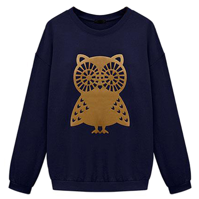 d9f3afef17 2017 NEW Spring Casual Owl Animal Print Beading Hoodies Sweatshirt Pullover  for Women Sportswear Plus Size