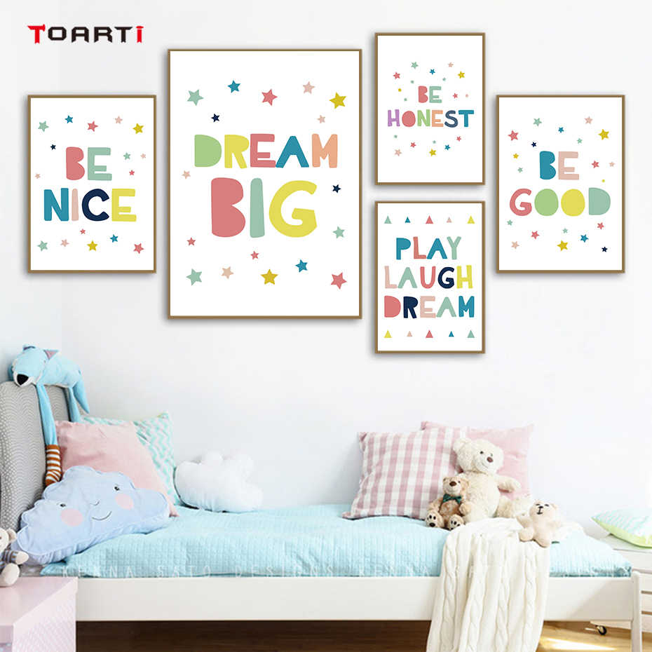 Inspiring Quotes Child Poster Minimalist Colorful Drawing Nursery Art Nordic Prints Kids Room Home Decoration Wall Picture Mural