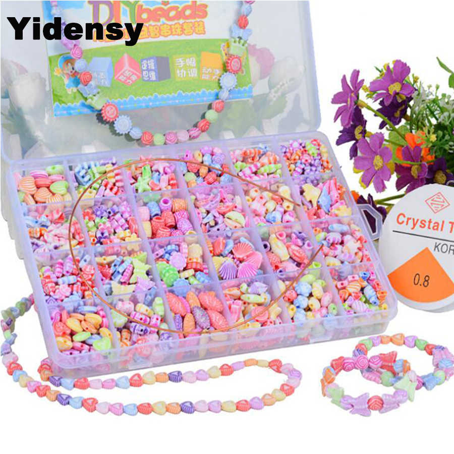 Yidensy Mixed Loose Spacer Charms Beads Set Bow Flower Crystal Plastic Bead Case for DIY Necklace Bracelet Jewelry Findings