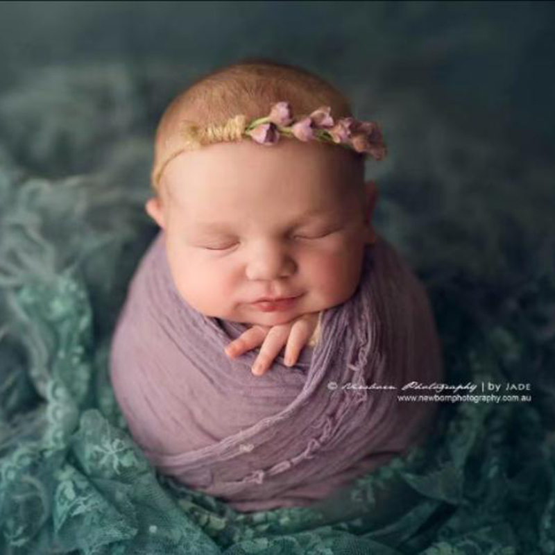 Purple Newborn <font><b>Cheesecloth</b></font> <font><b>Wrap</b></font> Baby Stretch Knit Jersey Swaddle Blanket Sack Photography props 90*90 cm image