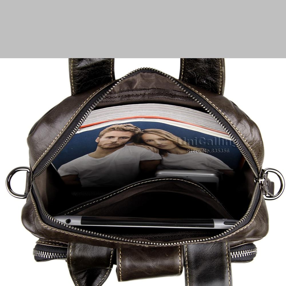 Top Retro Leather Business Bag Unicalling Handbag Grade Large Men Brand Cow Messenger Gray Capacity Fashion wWRvF