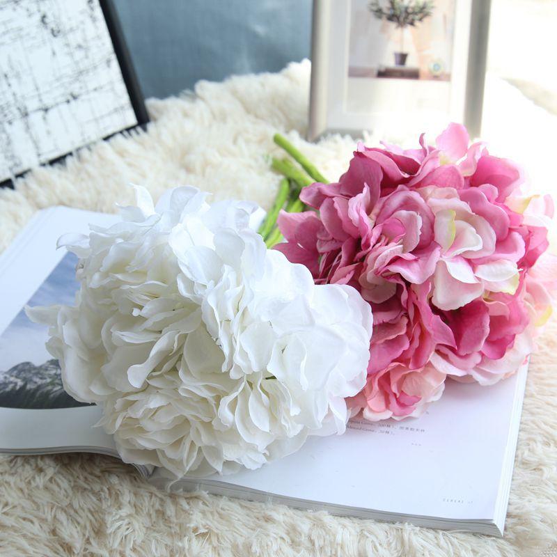 Artificial Hydrangea Silk Flower DIY Dekorativ Blom Bouquet Diy - Semester och fester - Foto 2