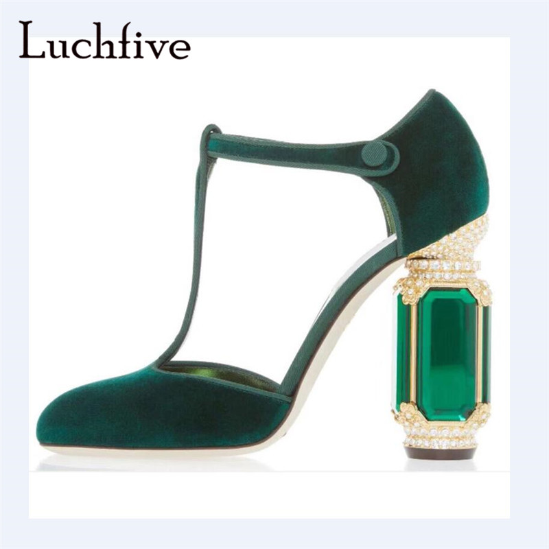 c298c2392a56e Detail Feedback Questions about Glass clear heels women pumps pointy toe  one belt button female shoes black green elegant outwear spring crystal  shoes woman ...