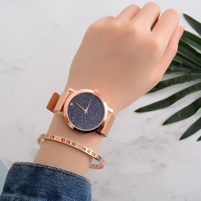 Luxury Starry Women Watches Steel Quartz Ladies Rose Bracelet Watch Casual Clock