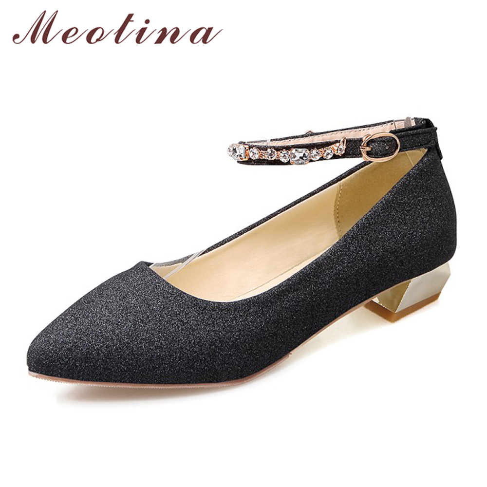Meotina Shoes Women Ankle Strap Low Heels Glitter Pointed Toe Party Shoes Rhinestones Ladies Pumps Big size 33-43 Zapatos Mujer vintage women pumps flowers embroidered ankle buckles canvas platforms ladies soft casual old beijing shoes zapatos mujer
