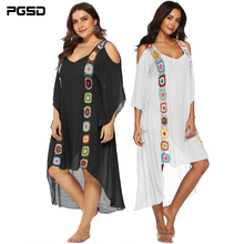 PGSD Summer fashion Big size Women clothes Irregular hand hooks Spliced strapless Holiday Beach Sunscreen Blouse Dress female