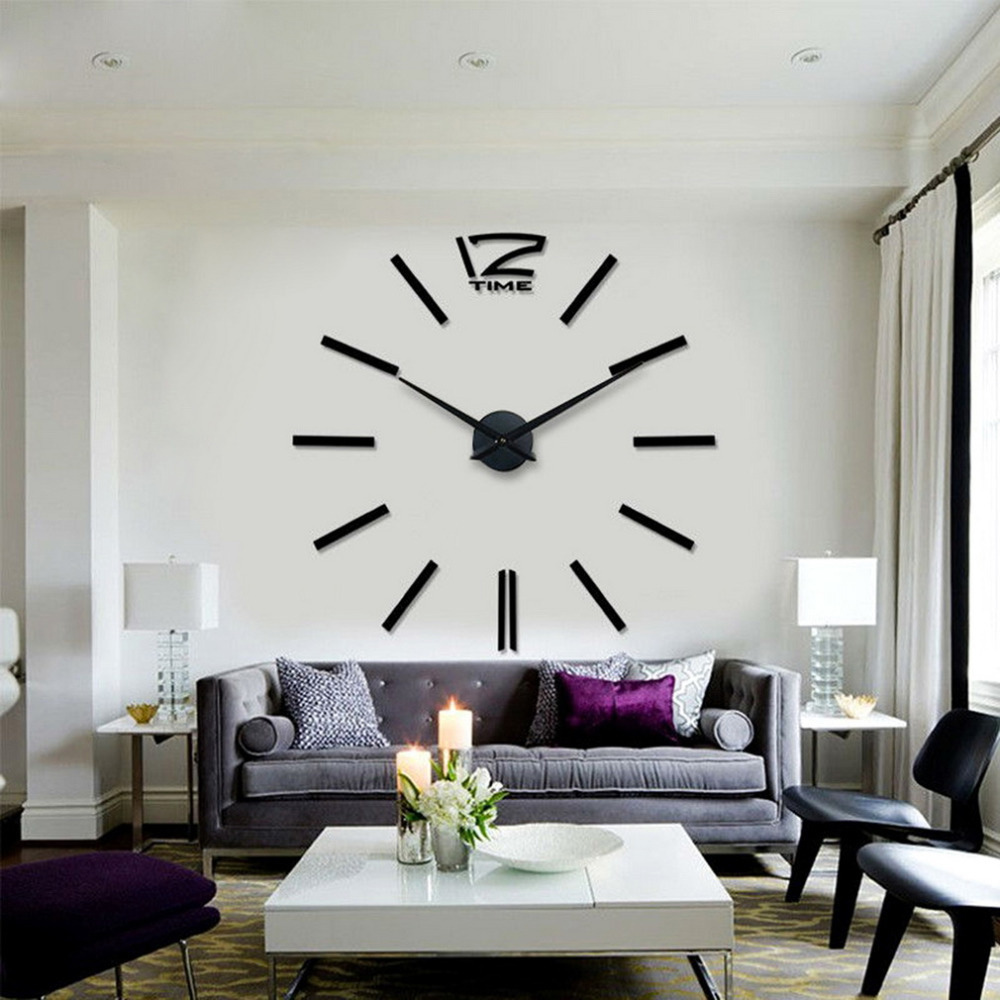 Quartz Diy Wall Clock 20 Inch Large Watch Best Acrylic Mirror Metal Stickers Clocks Home Decoration In From Garden On