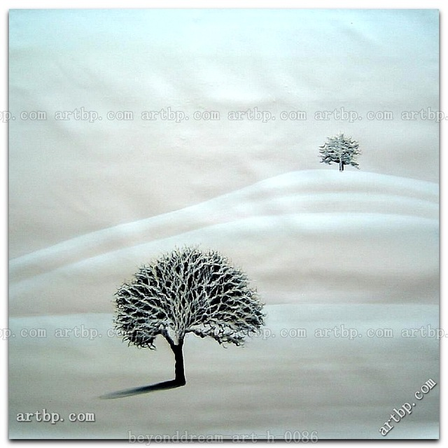 Winter Two Lonely Trees In Snow Oil Painting Contemporary Landscape Tree Canvas Ideas Realistic Abstract