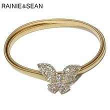RAINIE SEAN Thin Belts For Women Rhinestone Strench Skinny Waist Belt Without Buckle Gold Ladies Butterfly Metallic Belt Female